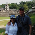 Bart and Claudia checking out ruins in Palenque, Chiapas, Mexico