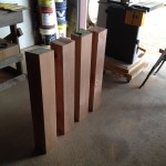 Table legs after planing