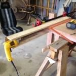 Using drill ot install thru-rods on table top