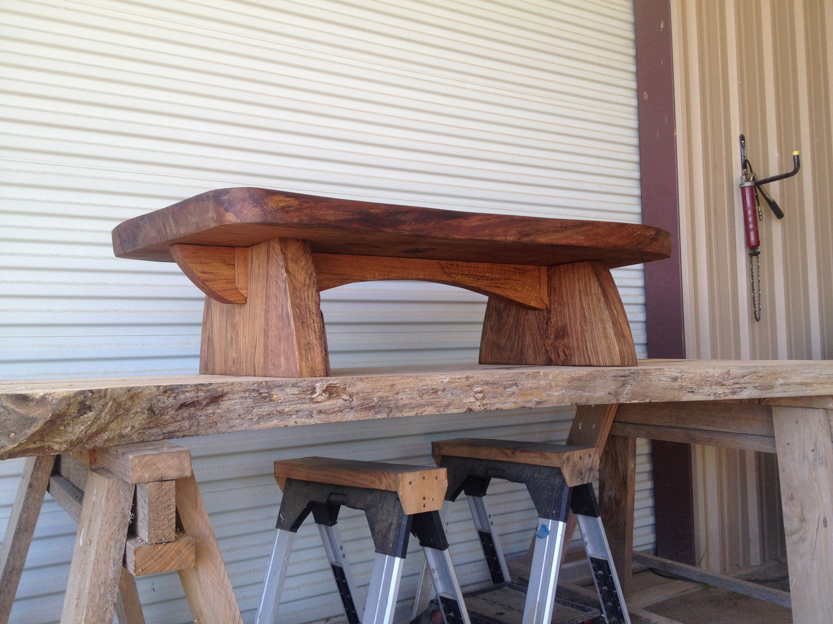 Rustic coffee table made from sawmill slabs