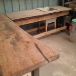 "Unfinished oak slab work tables 96""x32""x3"""
