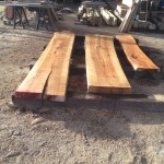 Hickory slabs from salvaged tree